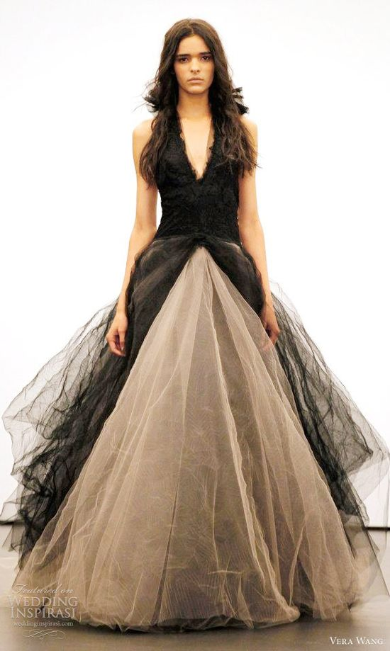 Vera Wang black wedding dress fall 2012