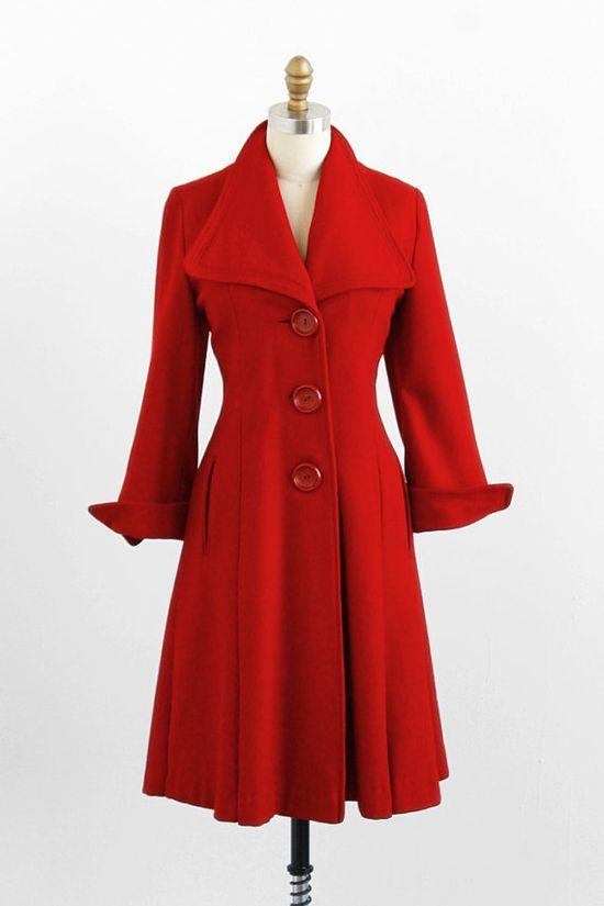 vintage 1940s red winter coat