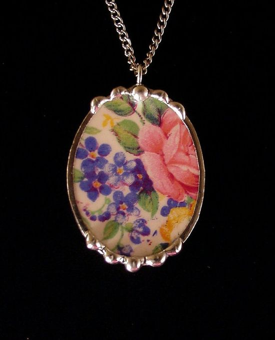 Antique Rosalynde chintz broken china jewelry oval necklace pendant made from a broken plate