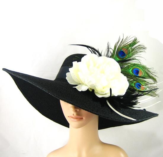 Kentucky Derby Hat with Peacock Feathers ,Derby Hat ,Dress Hat ,Wide brim black Hat Women's Dress Hat Wedding Tea Party Ascot  Horse Race. $78.99, via Etsy.