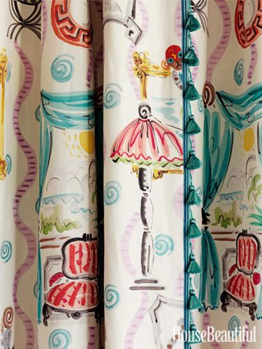 Clarence House's Beekman Place curtains in a house designed by Ann Pyne. #curtains