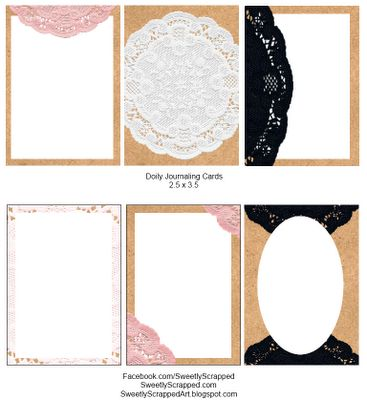 Free printable journaling cards, with a touch of lace