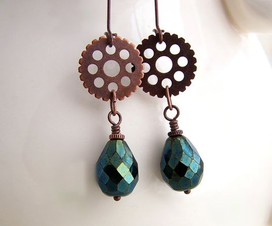 Green Blue Steampunk Earrings - Steampunk Jewelry