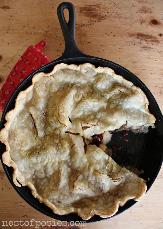 Can't wait to try cooking pie in iron skillet. Thankful Cranberry Apple Pie in an Iron Skillet #lovethepie recipe @nestofposies