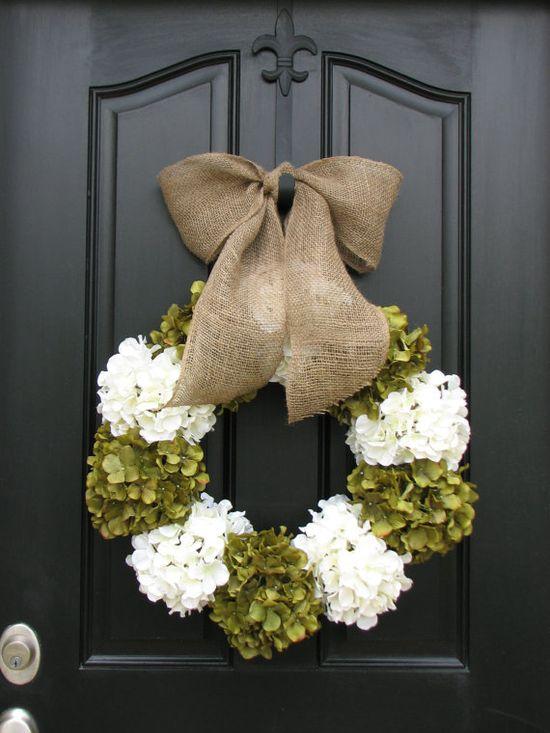 Wedding Decor, Outdoor Wedding Flowers, Summer Outdoor Wreaths, Hydrangea Decor, Hydrangeas for Weddings, Wedding Bouquets, Wedding Flowers via Etsy