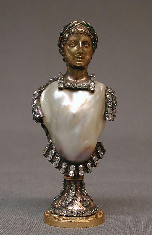 17th or 18th century seal w/ gold, pearl, diamonds, emeralds
