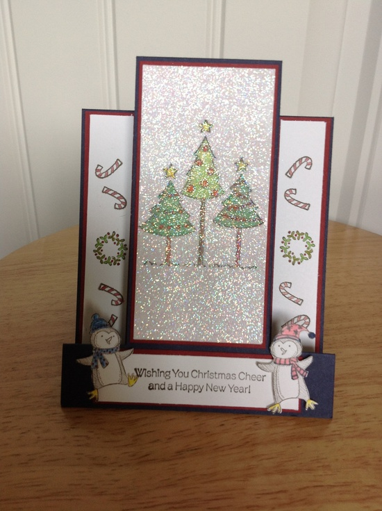 center step Christmas card with glitter Christmas tree.