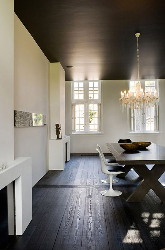 floor + ceiling colors. marc heldens modern interiors design. dark ceiling, dark floors. fireplace