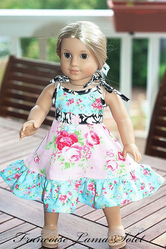 "American Girl Doll Clothes 2pc set 18"" doll vintage twirl dress and belt - Rose"