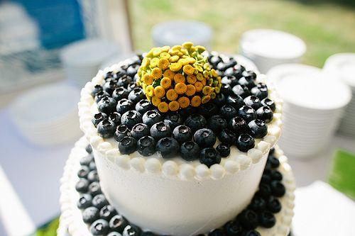 Amazing blueberry encrusted wedding cake!