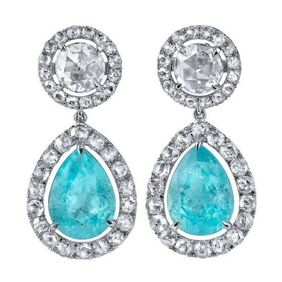 Rare Paraiba Tourmaline and Rose Cut Diamond earrings.