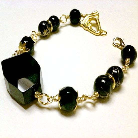 Black Onyx Bracelet Yellow Gold Jewelry by cdjali on Etsy, $20.00