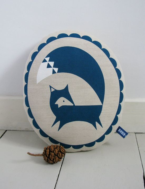 Hand Screen Printed Fox in French Navy by robinandmould on Etsy, $28.00
