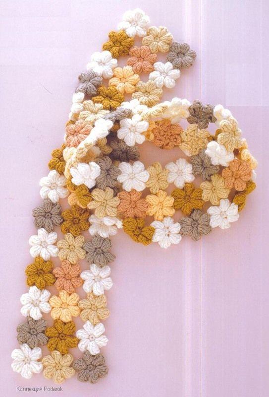 "crochet scarf- pattern for the little ""mollie flowers"" here: littlegreen.typep..."