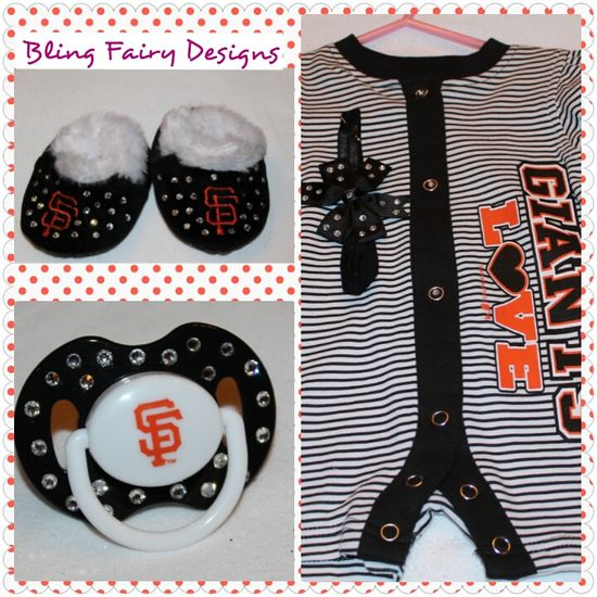 Giant's baby outfit embellished with rhinestones.