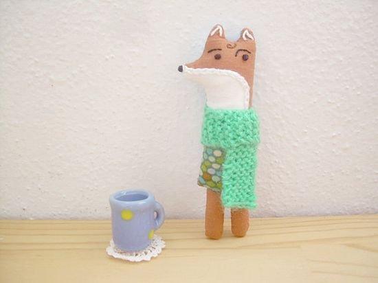 Fox pocket friend and kids necklace handmade doll