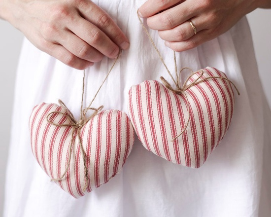 Rustic Hearts - Two Red Ticking Plush Ornaments