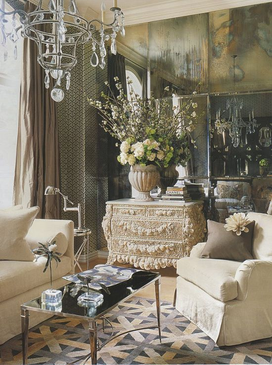 antiqued mirrored walls~  LOVE!!