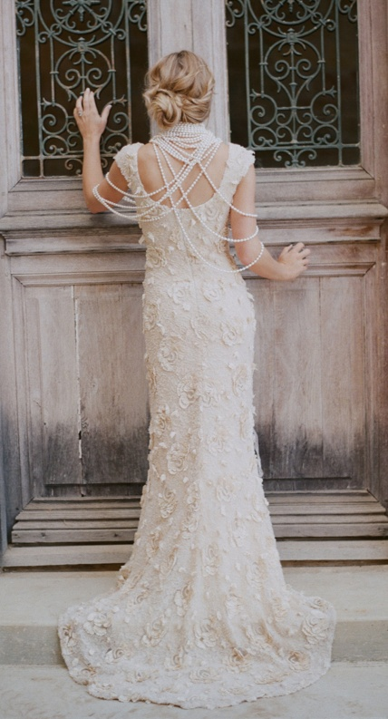 lace + pearls. #bridal #wedding #gown #dress