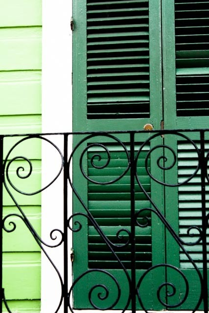 Green doors in the French Quarter.