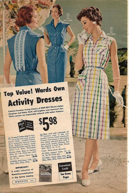 Charming a-line warm weather dresses from the pages of the 1959 Montgomery Ward summer catalog. #vintage #1950s #dress #fashion #summer #gloves