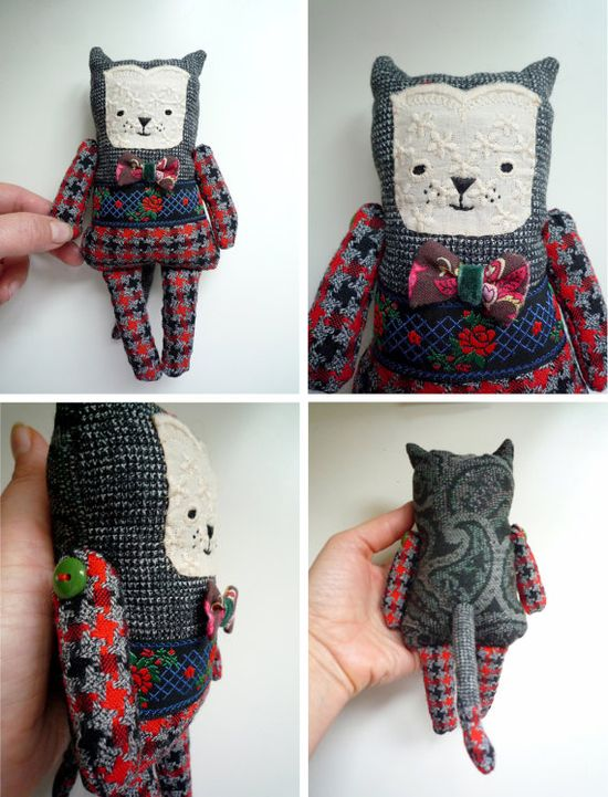 Gregory  Little  cat  soft art  toy  by by wassupbrothers on Etsy