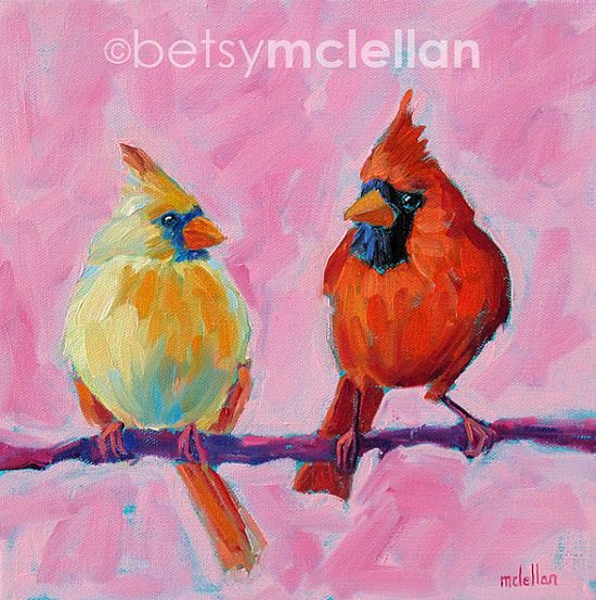Cardinals Original Painting by betsymclellanstudio on Etsy, $45.00