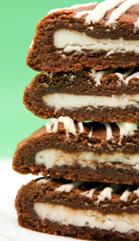 Double chocolate cookies with a peppermint pattysurprise.