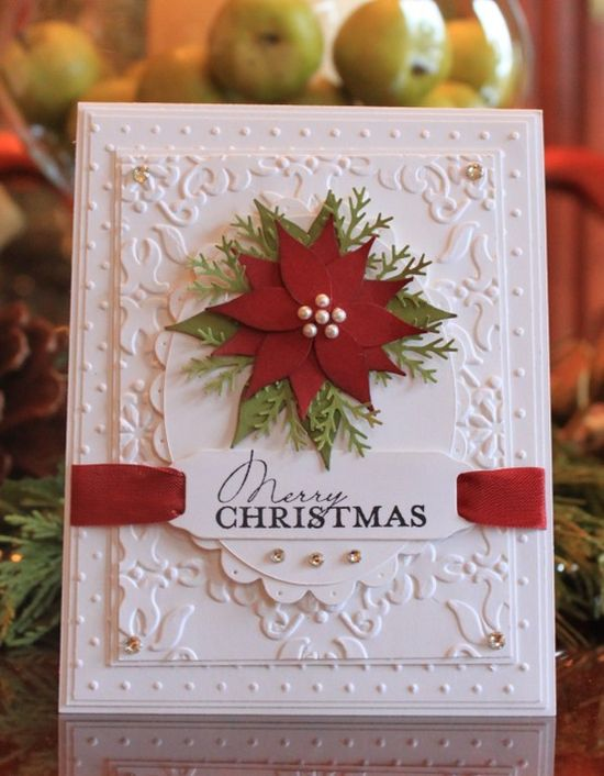 Wonderful embossing and layering on this elegant holiday greeting. #cards #card_making #scrapbooking #Christmas