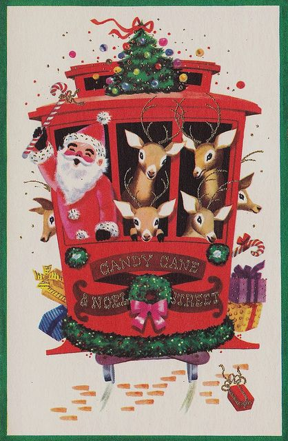 Vintage Christmas Card - Cable Car - Candy Cane and Noel Street