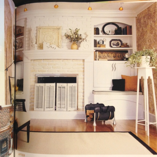 Love the fireplace and plant stand. From HGTV Before and After Home Decorating