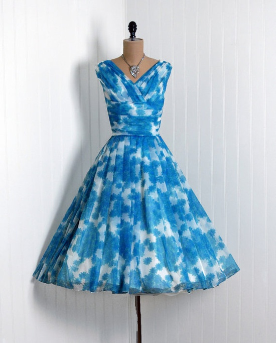 Turquoise vintage 1950s party dress