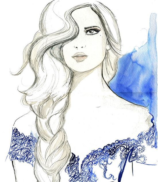 Mixed Media and Watercolor Fashion Illustration - Light as a Feather print. $25.00, via Etsy.