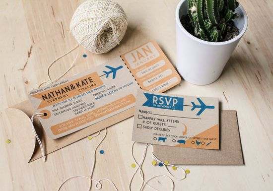 DIY printable plane ticket wedding invitation by yesdearstudio, $100.00