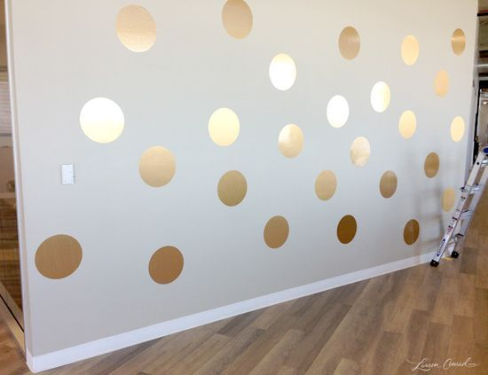 How to DIY a Gold Polka Dot Wall