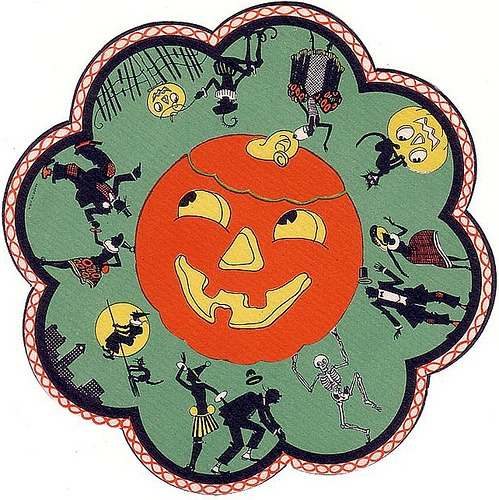 Vintage Halloween Ephemera ~ Jack O' Lantern Table Mat