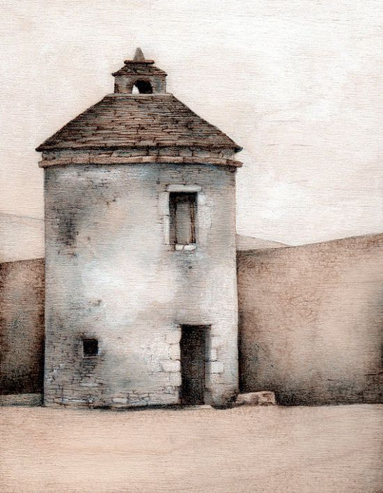 Lighthouse in Montvalent - Giclee print from original woodburning painting