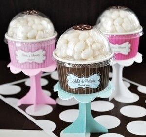 ice cream cup party favors with pedestals