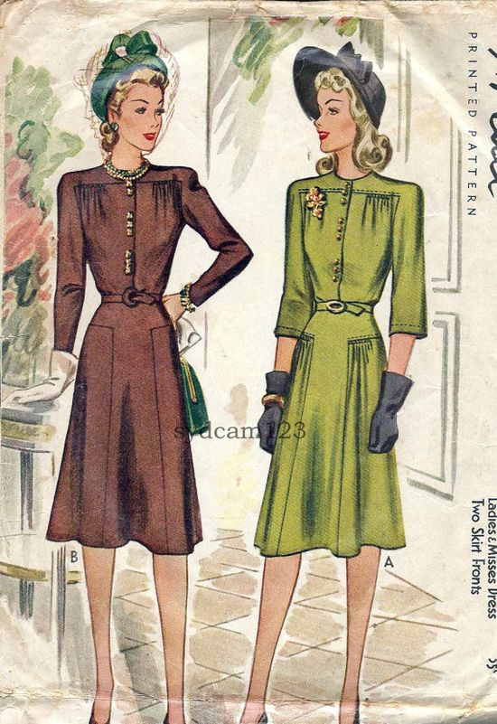 Vintage 1940s Shirtwaist Dress Pattern Gathered Upper by sydcam123, $15.00