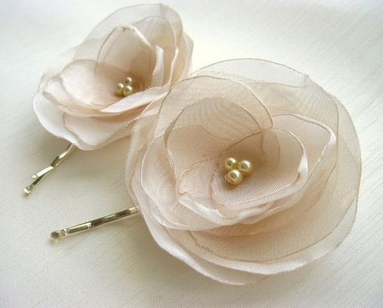 Ivory Organza Flower bobby pins