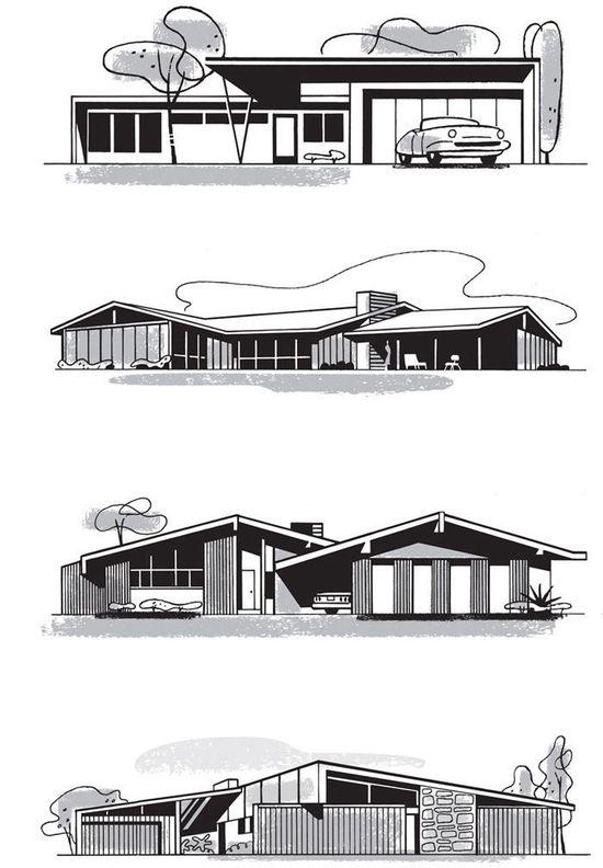 Mad for Mid-Century: Mid-Century Home Illustrationsmid century modern architecture  #modern
