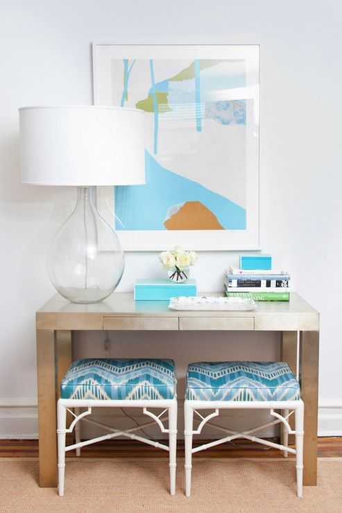 foyer with West Elm Parsons Metal Desk with recycled  glass lamp and turquoise ...