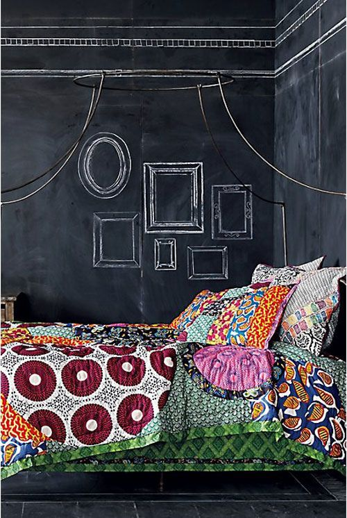 patchwork and chalkboard frames