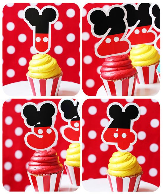Mickey Mouse Party- Birthday - Mickey Mouse Inspired Printable Cupcake Toppers set by Amanda's Parties TO GO. $9.00, via Etsy.