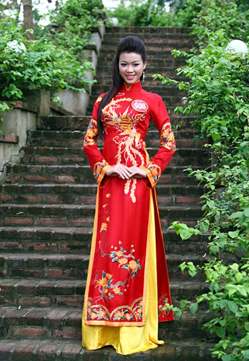 Red Ao Dai Wedding Dress. The pattern reminds me of one of those older style Chinese wedding outfits.