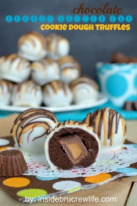 Chocolate Peanut Butter Cup Cookie Dough Truffles - chocolate cookie dough wrapped around a Reese's  peanut butter cup mini and dipped in white chocolate www.insidebrucrew...