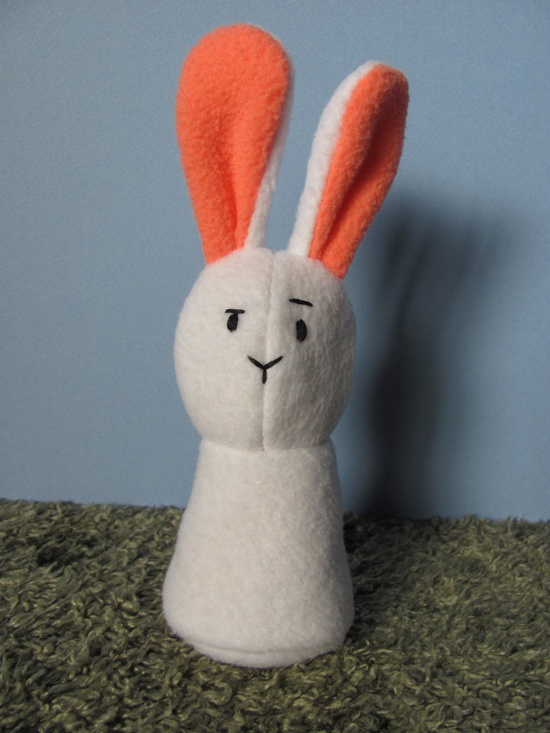Upcycled, Ecofriendly Quizzical White and Pink Bunny Plush Stuffed Animal Toy. $13.00, via Etsy.