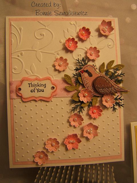 handmade card ... like the embossing folder textures and all the little punched flowers forming a swirl .... Language of Friendship, Boho Blossoms and 2 Step Bird punch ... Stampin' Up!