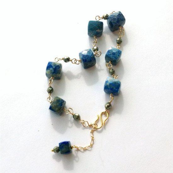 Lapis Pyrite Bracelet Lapis Pyrite Jewelry by jewelrybycarmal, $65.00
