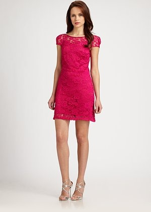 Theia - Lace Dress - Saks.com